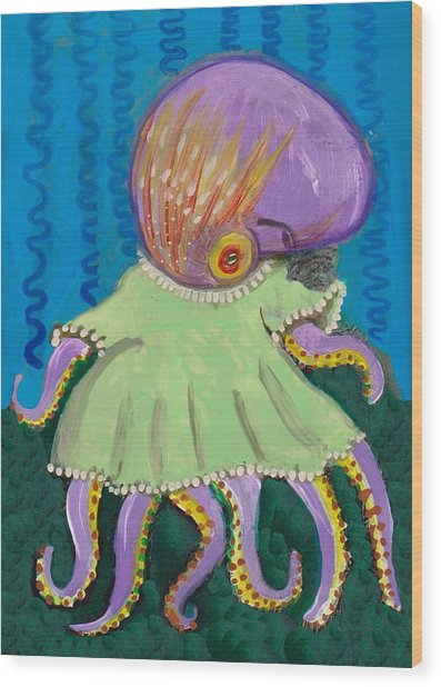 Baby Octopus In A Dress Wood Print
