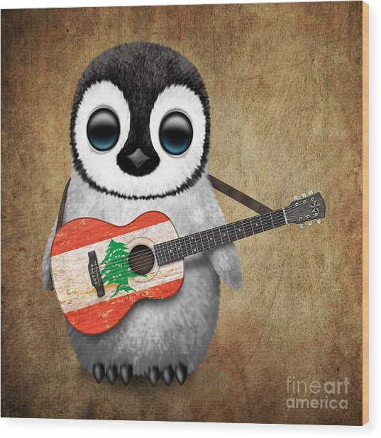 Baby Penguin Playing Lebanese Flag Guitar Wood Print