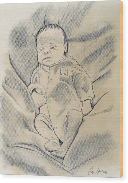 Baby Sleeping Wood Print