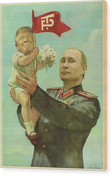 Baby Trump Putin Wood Print