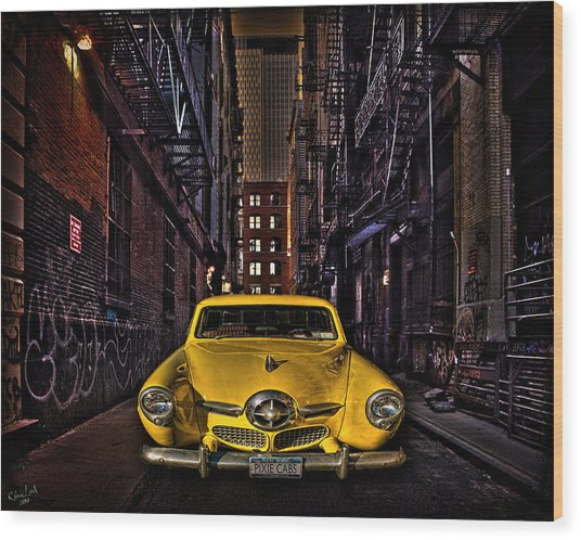 Back Alley Taxi Cab Wood Print