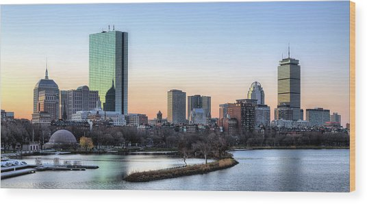 Back Bay Sunrise Wood Print