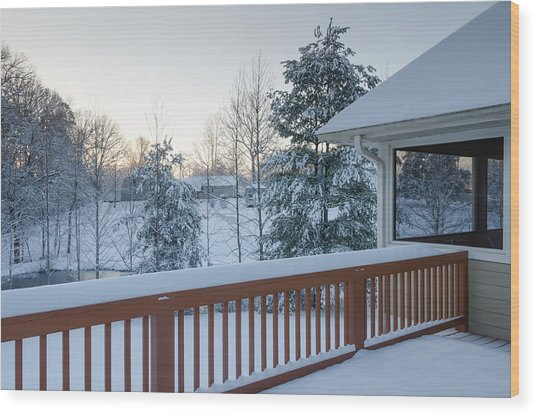 Winter Deck Wood Print