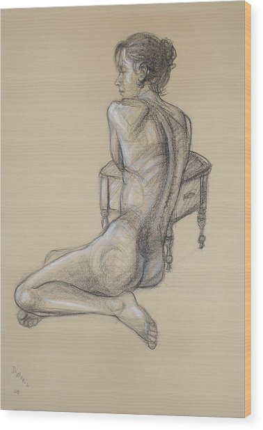 Back Nude 2 Wood Print by Donelli  DiMaria