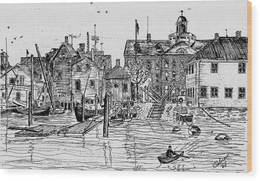Back Of The Boat Yard On Eel Pond Wood Print