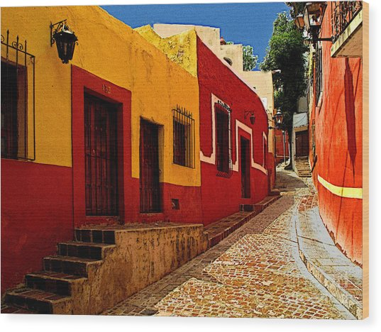 Back Street Guanajuato Wood Print by Mexicolors Art Photography