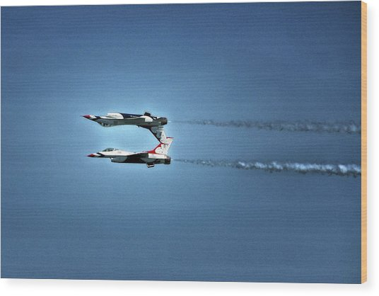 Wood Print featuring the photograph Back To Back Thunderbirds Over The Beach by Bill Swartwout Fine Art Photography