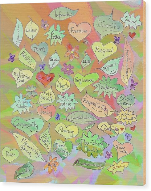 Back To The Garden Leaves, Hearts, Flowers, With Words Wood Print
