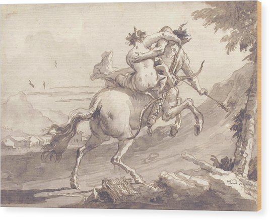 Back View Of A Centaur Abducting A Satyress Wood Print