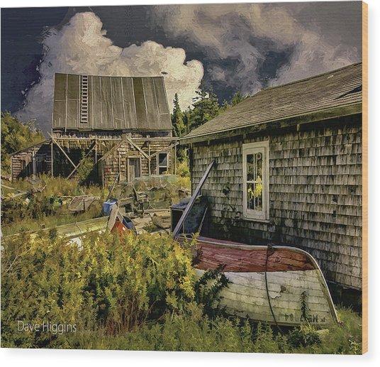 Back Yard, Stonington, Maine Wood Print by Dave Higgins