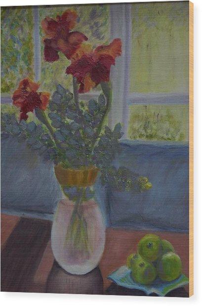 Backlit Irises Wood Print by Bonnie Hanly