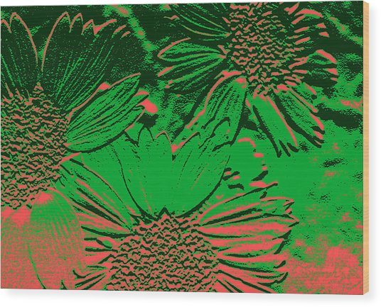 Abstract Flowers 1 Wood Print