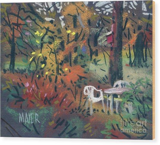 Backyard In Autumn Wood Print