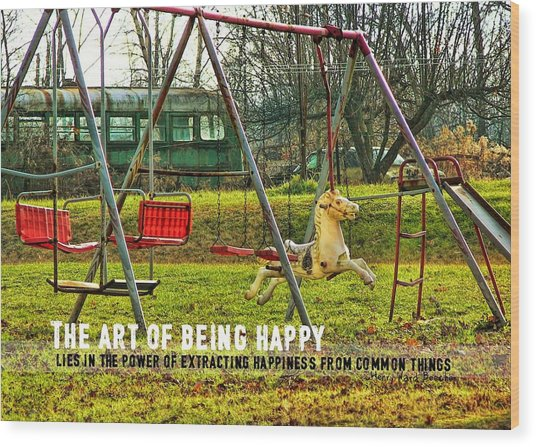 Backyard Play Quote Wood Print by JAMART Photography
