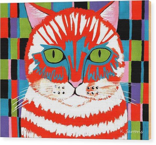 Bad Cattitude - Contemporary Cat Art Wood Print