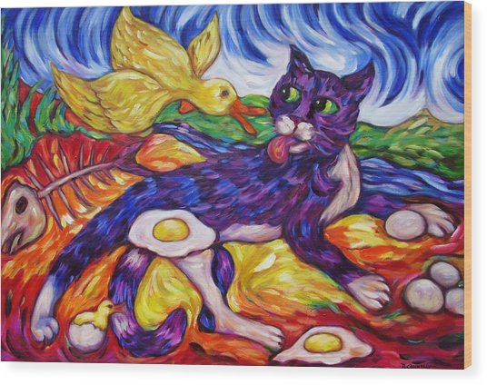 Bad Kitty Gets Caught Again Wood Print