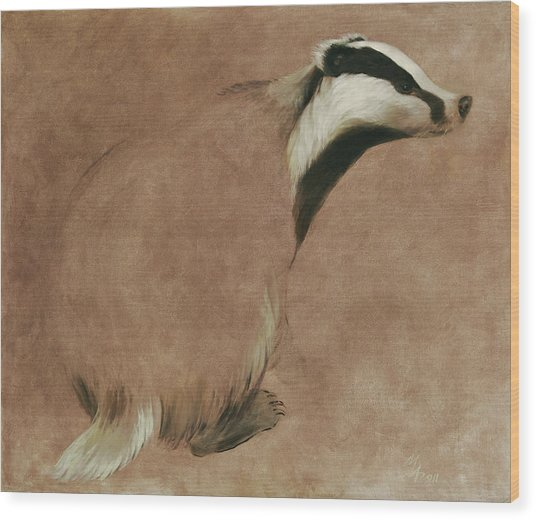 Badger Wood Print