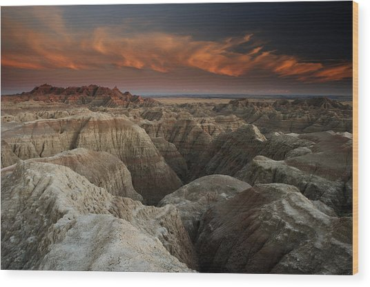 Badlands Wood Print by Eric Foltz