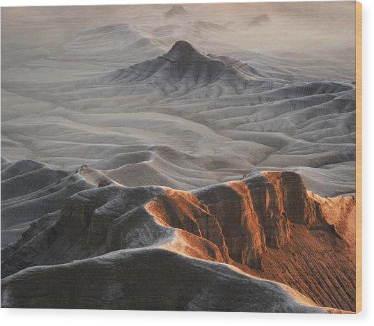 Badlands Fog Wood Print