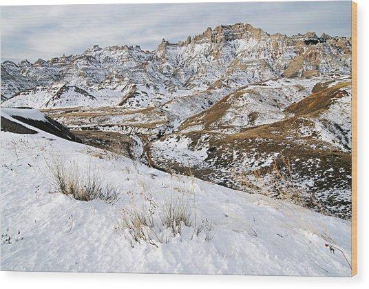 Badlands In Snow Wood Print