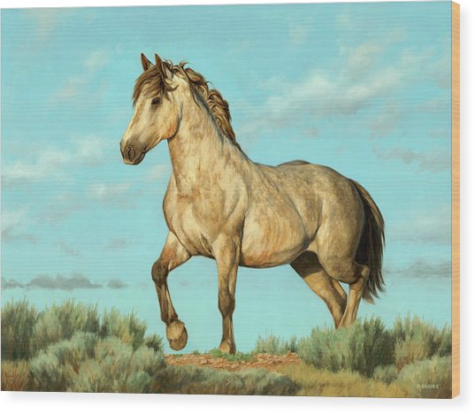 Badlands Mustang Wood Print