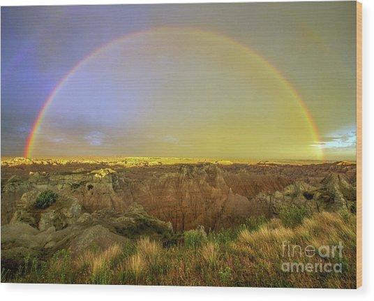 Badlands Rainbow Promise Wood Print