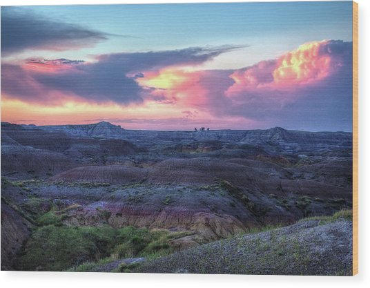 Badlands Sunrise Wood Print