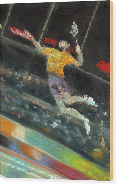 Badminton Player Wood Print by Paul Mitchell