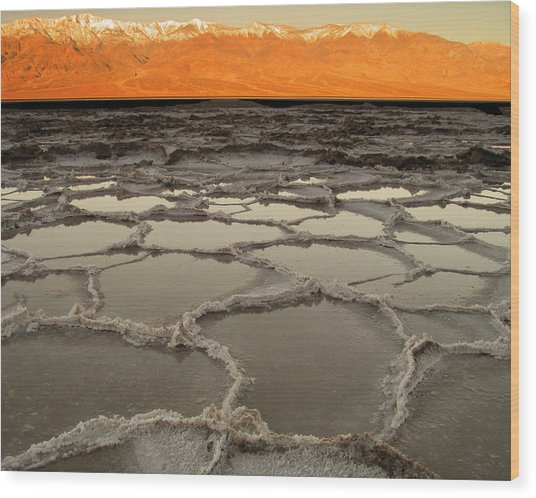 Badwater Sunrise-death Valley Wood Print