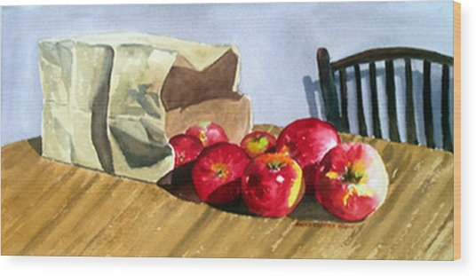 Bag With Apples Wood Print by Anne Trotter Hodge