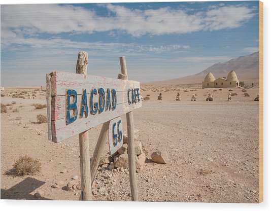 Bagdad Cafe Sign Wood Print
