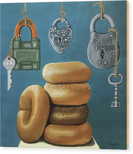 Bagels And Locks Wood Print