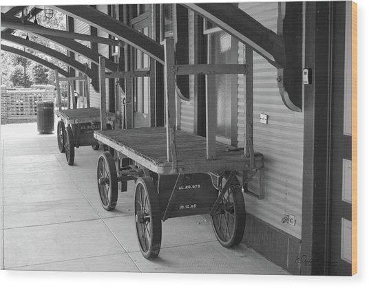 Baggage Carts Bw Wood Print