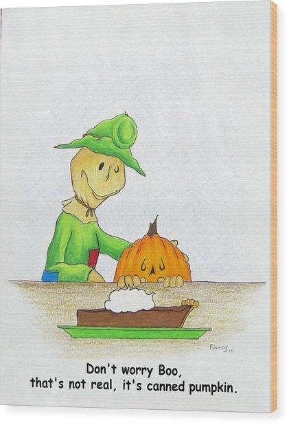 Baggs And Boo Canned Pumpkin Wood Print