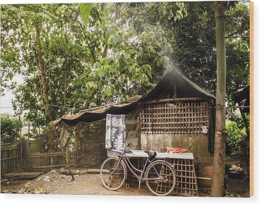 Bahay Kubo Wood Print by Sayaka Aira Espiritu