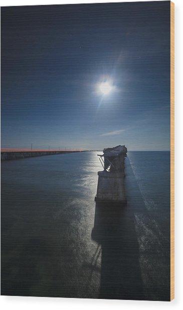 Bahia Honda By The Moonlight Wood Print by Dan Vidal
