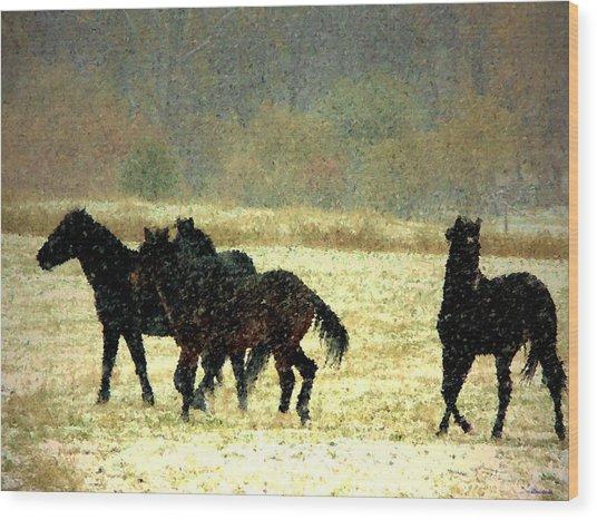 Bailando De Los Caballos En Viento Y Nieve Wood Print by Anastasia Savage Ealy
