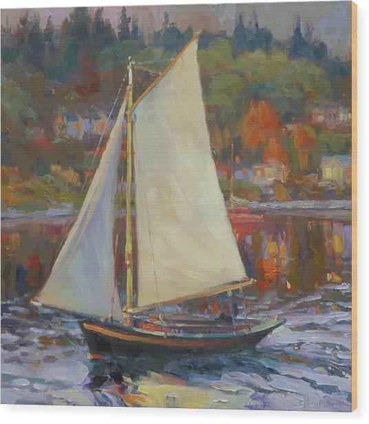 Bainbridge Island Sail Wood Print