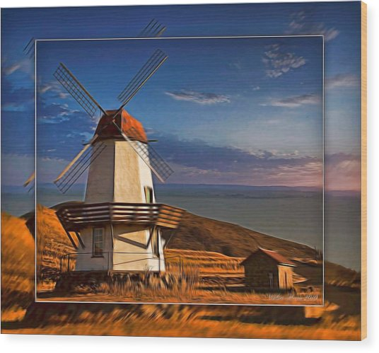 Baker City Windmill_1a Wood Print