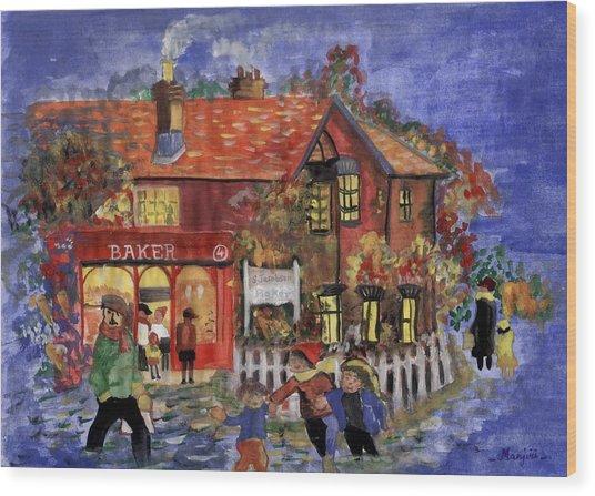 Bakers Inn Winter Holiday Landscape Wood Print
