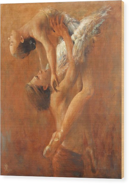 Balance In The Couple. Dance Painting .ballet.  Wood Print