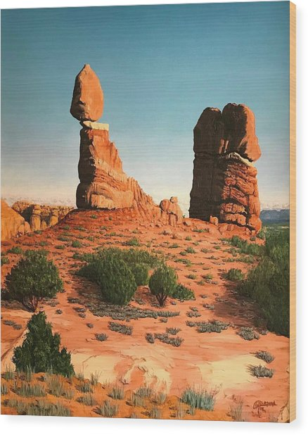 Balanced Rock At Arches National Park Wood Print