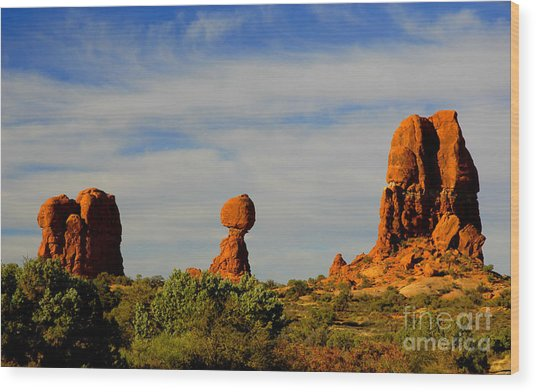 Balanced Rock Wood Print by Dennis Hammer