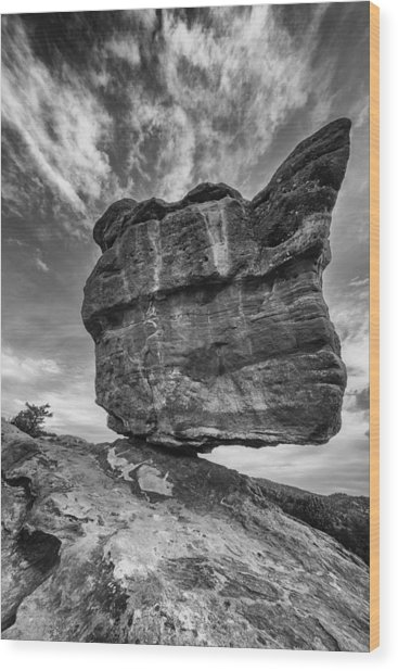 Balanced Rock Monochrome Wood Print