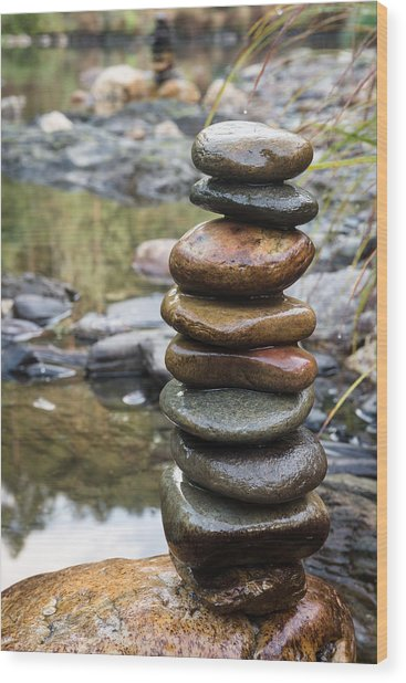 Balancing Zen Stones In Countryside River Vii Wood Print