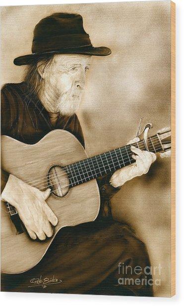Balboa Park Guitarist Wood Print