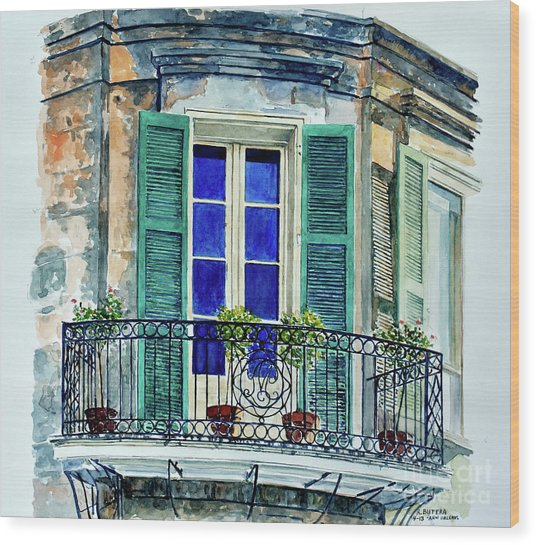 Balcony, New Orleans Wood Print