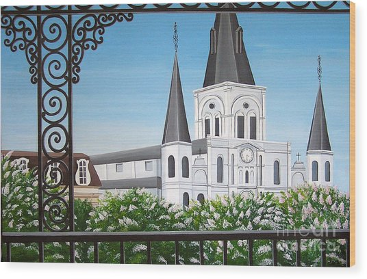 Balcony View Of St Louis Cathedral Wood Print