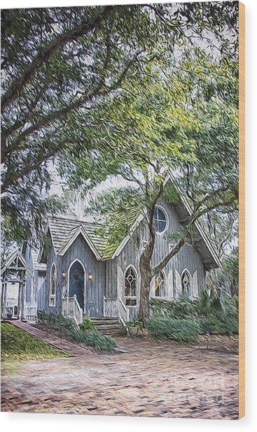Bald Head Island Chapel Wood Print