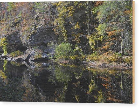 Bald River Autumn Reflection Wood Print by Darrell Young